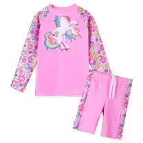 TFJH E Girls Swimsuit UPF 50+ UV Two Piece Long Sleeve Swimwear Rash Guard Sets 3-12Y