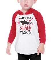 Bump and Beyond Designs Toddler and Kids Valentine's Shark Boy and Girl Long Sleeve Raglan Hoodie