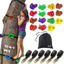 Artoflifer Junior Ninja Tree Climbers Climing Holds for Trees, 15 Climbing Rocks with 6 Ratchet and Straps Climbing, Rock Climbing Holds for Trees, Ninja Warrior Obstacle Course Outdoor