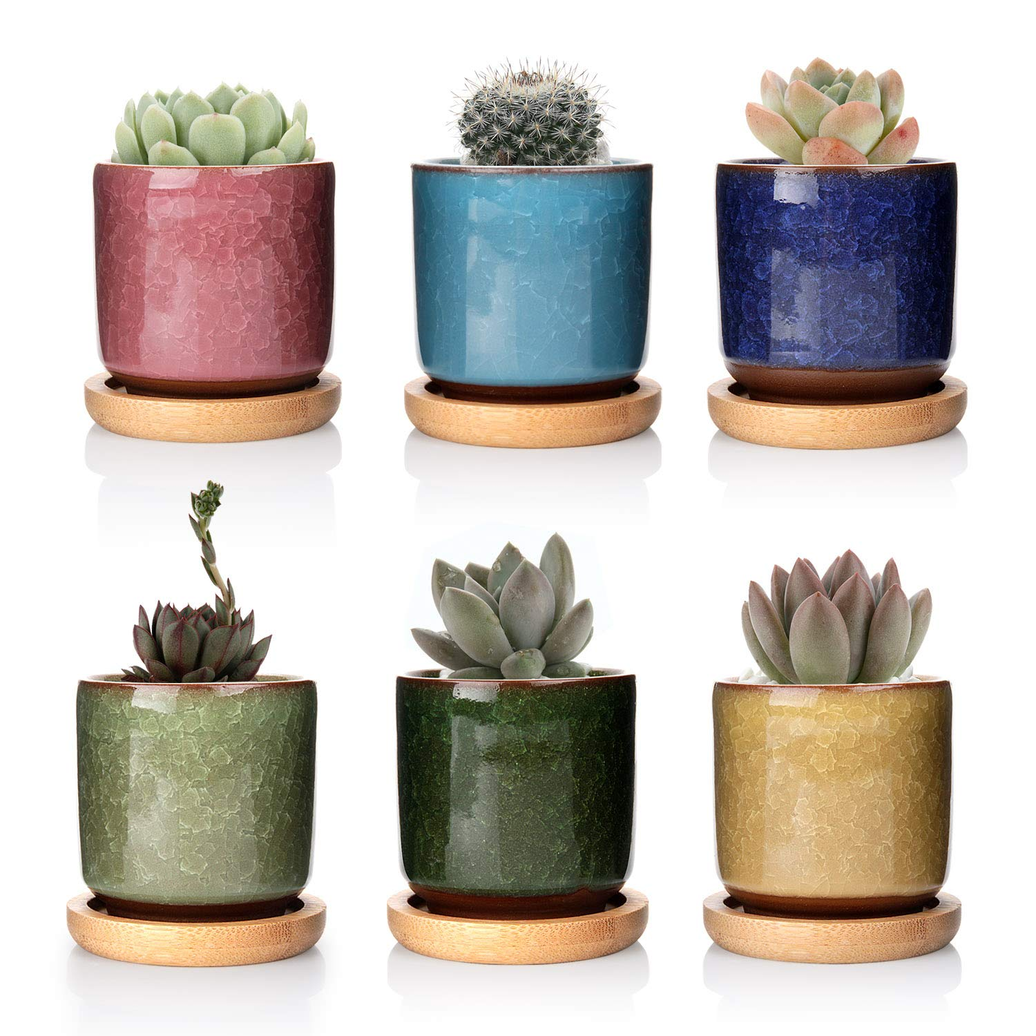 T4U 2.5 Inch Small Ceramic Succulent Planter Pot with Bamboo Saucer Set of 6, Ice Crack Glaze Porcelain Handicraft Plant Container Gift for Mom Sister Aunt Best for Home Office Desk Decoration