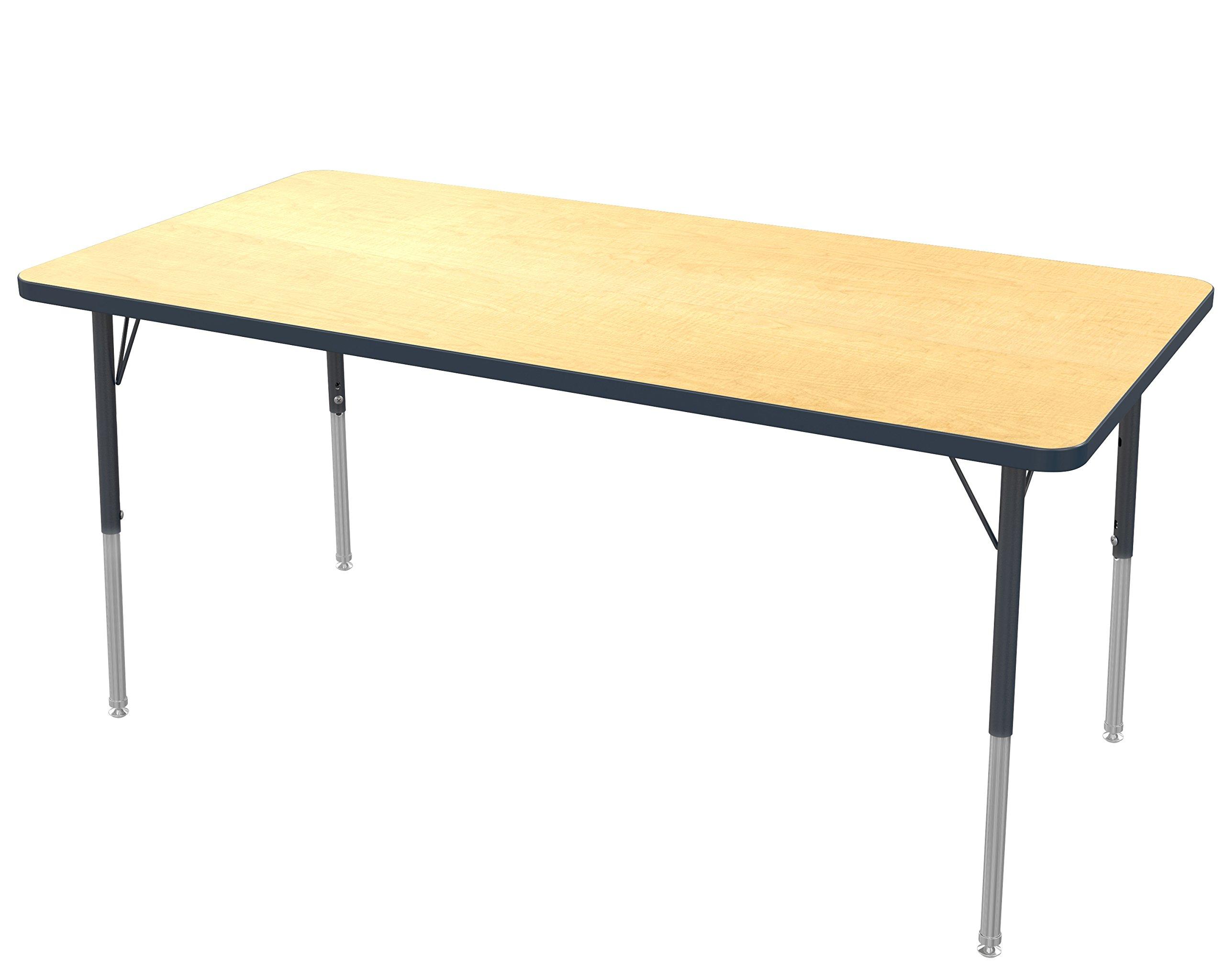 "Marco Group MGA2237-50-BBLK 30"" x 60"" Rectangular Adjustable Height Classroom Activity Tables (21""- 30"") Standard Size, Fusion Maple -Top, Black-Edge, Black-Leg"