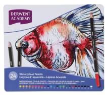Derwent Academy Watercolor Pencils, 3.3mm Core, Metal Tin, 24 Count (2301942)