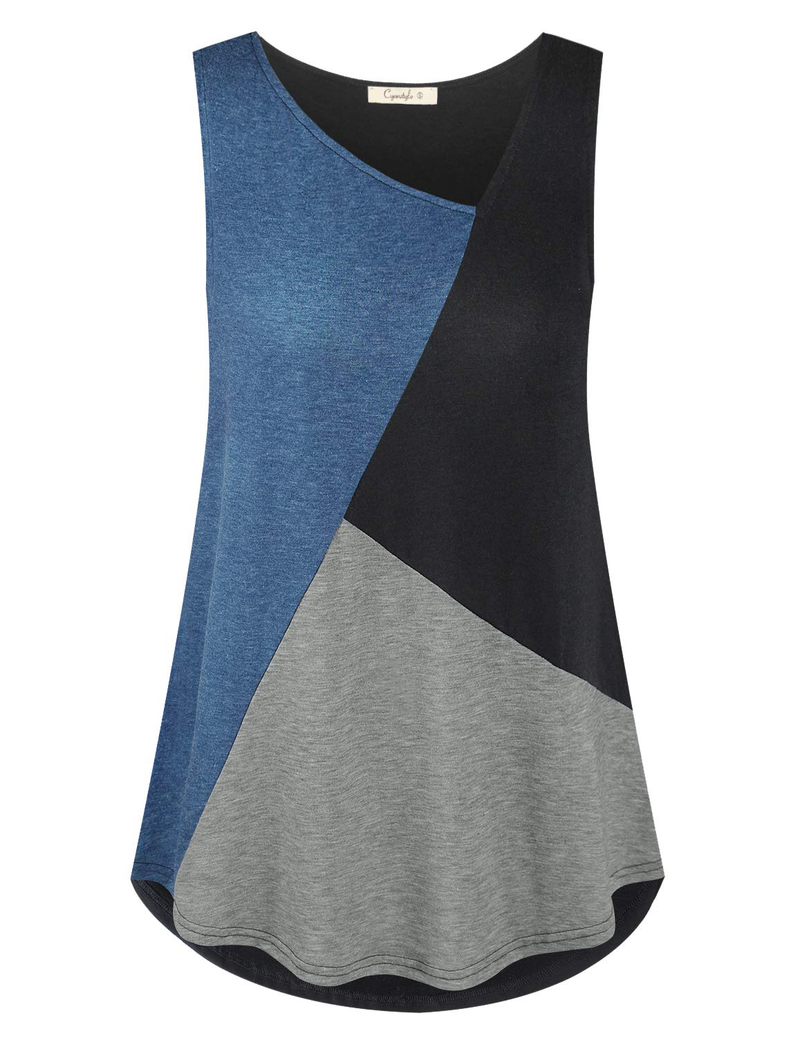 Cyanstyle Women's Casual Sleeveless Patchwork Color Block Loose Fits Tank Tunic Tops