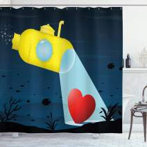 """Ambesonne Yellow Submarine Shower Curtain, Illustration of a Underwater Submarine Finding a Heart Romance Image, Cloth Fabric Bathroom Decor Set with Hooks, 75"""" Long, Dark Blue"""