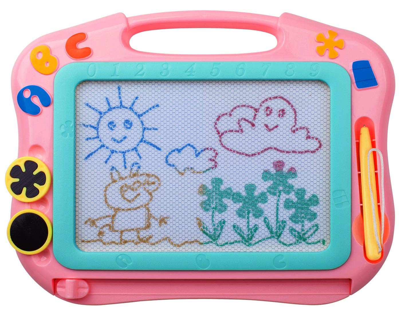 ikidsislands IKS85P [Travel Size] Color Magnetic Drawing Board for Kids, Doodle Board for Toddlers, Sketch Pad Toy for Little Girls (Pink)