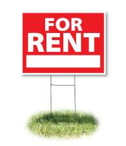 Headline Sign 4729 Yard Sign, for Rent, 18 Inches by 24 Inches