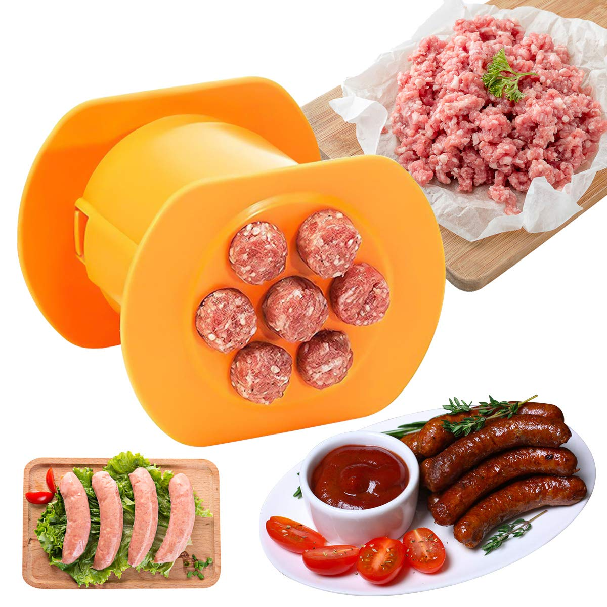 One Press Cevapcici Sausage Maker 7 Sausages in One Press Manual Hot Dog Maker Non Stick Household Barbecue Grilling Molds - BBQ Grill Accessories - Homemade Sausage Making Tool - Easy to Use (1pc)