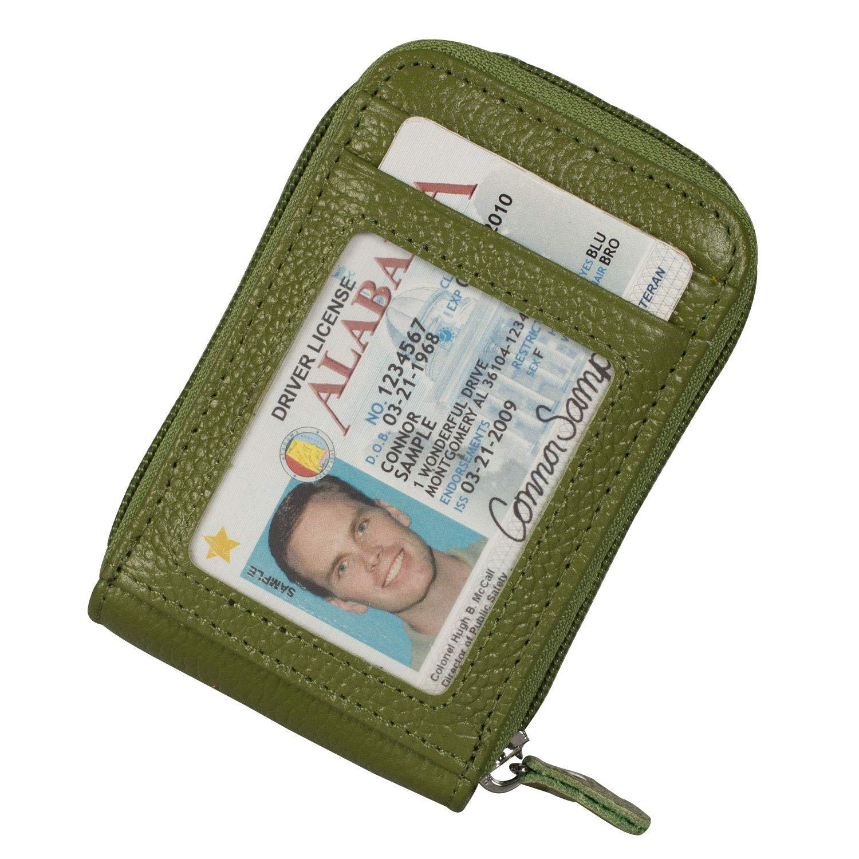 Noedy RFID Blocking Credit Card Case Organizer Genuine Leather Zip-Around Security Wallet Green
