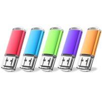 JUANWE 5 Pack 2GB USB Flash Drive USB 2.0 Thumb Drives Jump Drive Memory Stick Pen - Blue/Purple/Pink/Green/Orange(2GB,5 Mixed Color)