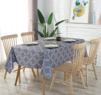 AooHome Rectangular 55x70 Inch Table Cover, Polyester Spill-Proof Water Repellent Geometric Quatrefoil Tablecloth for Dining Room and Kitchen, Charcoal, 55x70 Inch