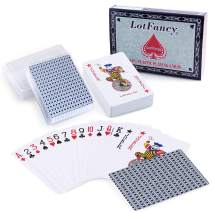 LotFancy Playing Cards, 100% Plastic, Waterproof - 2 Decks of Cards with Plastic Cases, Poker Size Standard Index, for Magic Props, Pool Beach Water Card Games