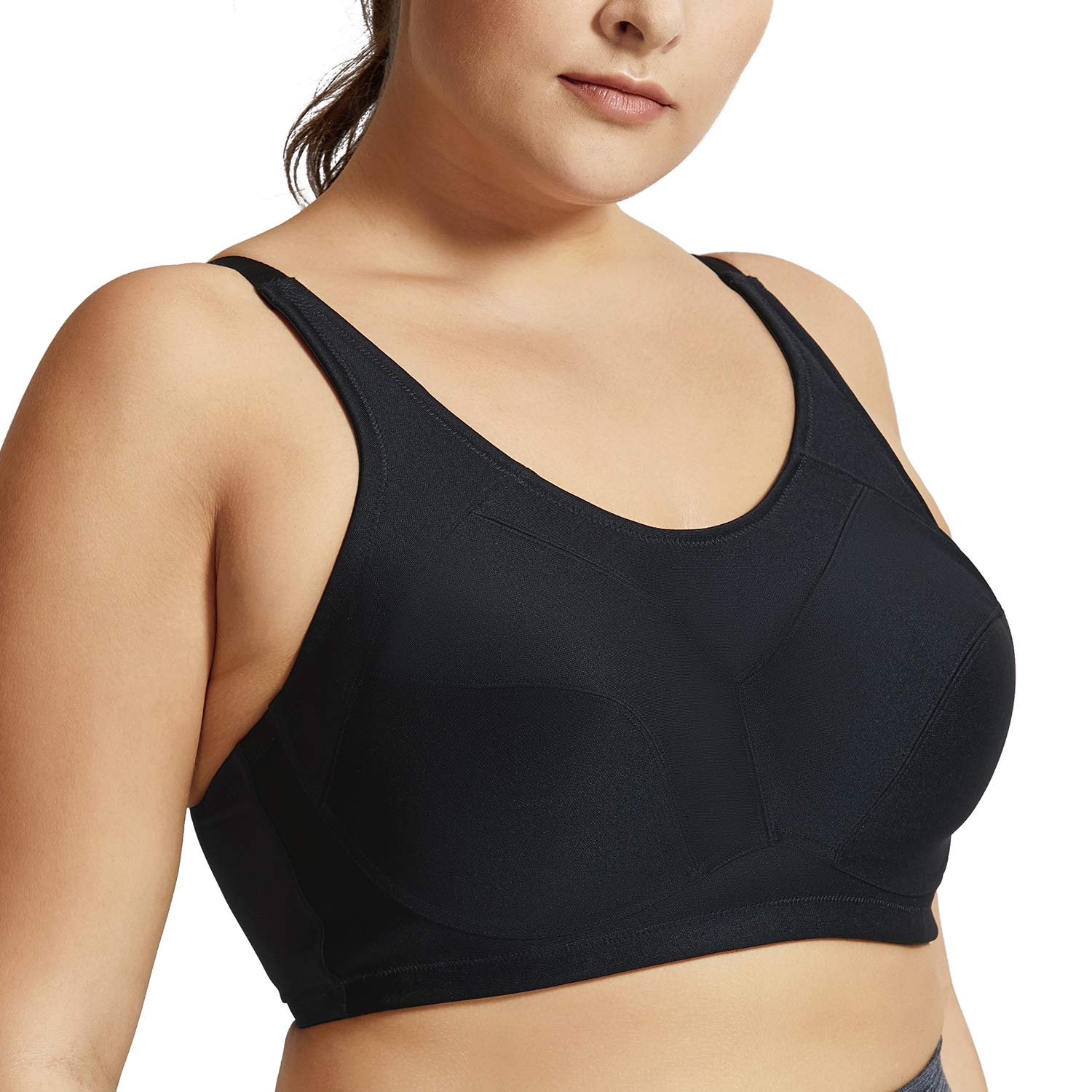 SYROKAN Women's High Impact Support Plus Size Coolmax Underwire Workout Sports Bra
