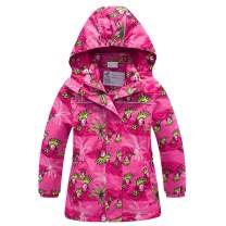 Girls Rain Jacket Kids Hooded Raincoat Windbreaker with Fleece Lining