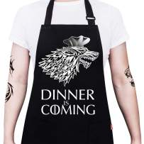 """ALIPOBO Grill Aprons for Men Women, Dinner is Coming Game of Thrones Kitchen Chef Apron with 2 Pockets and 40"""" Long Ties, Adjustable Bib Apron for Cooking, BBQ, Baking, Gardening, Black"""
