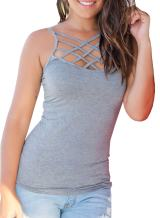 Womens Criss Cross Tank Tops Spaghetti Strap Open Back Sleeveless Cami Shirts