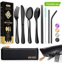 Reusable Utensils with Case - Travel Utensils - Portable Flatware Stainless Set with Waterproof Case and Straw, Knife, Fork, Spoon, Spork (Black, Portable size)