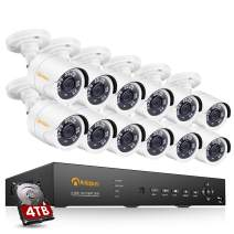 Anlapus H.265+ 16 Channel 5-in-1 1080p Video Surveillance DVR System with Hard Drive 4TB, 12pcs Wired Outdoor 2MP CCTV Security Camera for Home and Business 24/7 Recording