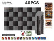 "Acepunch 40 Pack GRAY AND BLACK Color Combination Pyramid Acoustic Foam Panel DIY Design Studio Soundproofing Wall Tiles Sound Insulation 9.8"" x 9.8"" x 1.9"" AP1034"