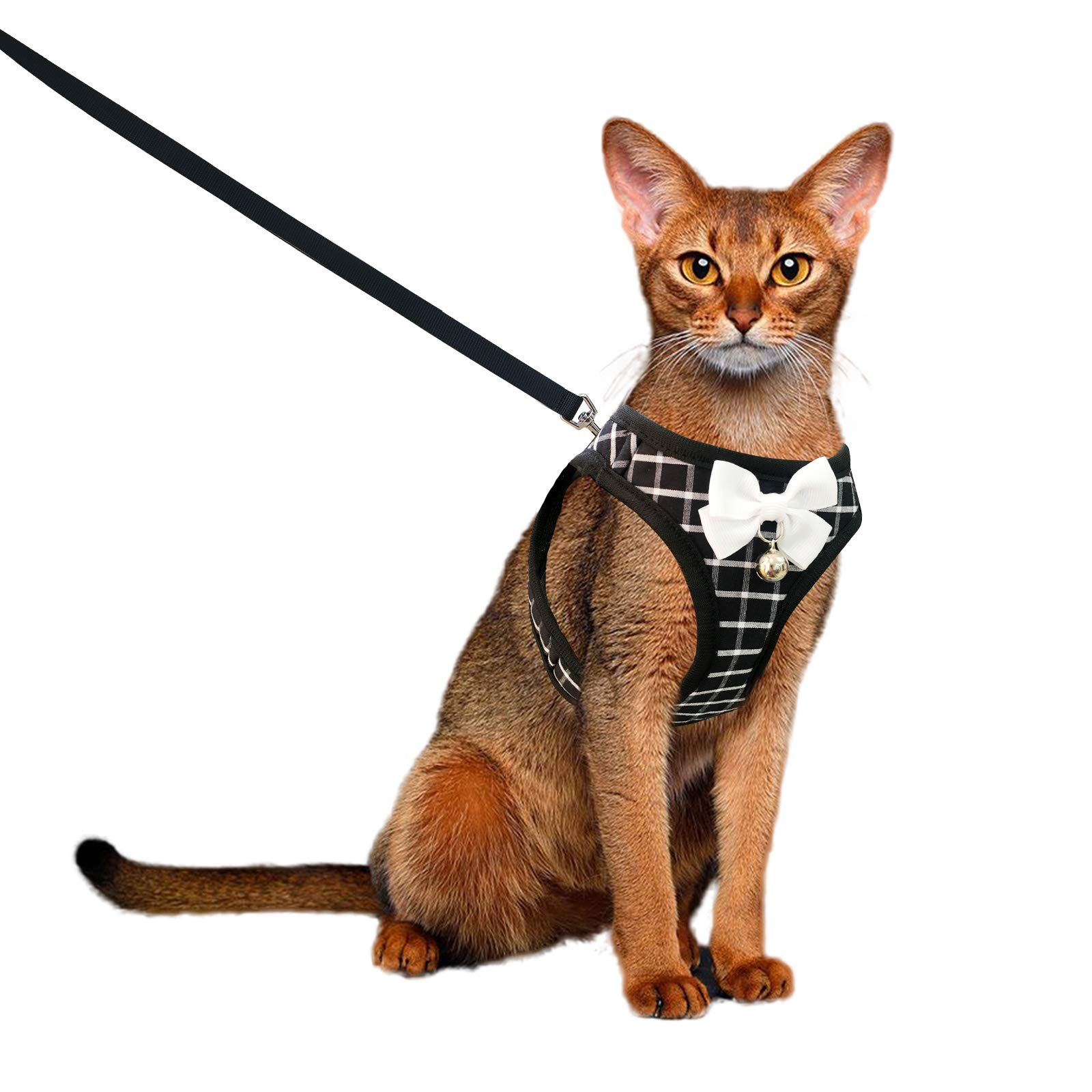 Aumuca Cat Harness and Leash for Walking Escape Proof with Bell and Bow-Knot Decoration,Adjustable Soft Kittens Vest for Cats,Cat Walking Harness,Step-in Comfortable Outdoor Vest(Black,XS)