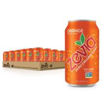 Zevia Zero Calorie Soda, Orange, Naturally Sweetened Soda, Orange-flavored Carbonated Soda; Refreshing, Full of Flavor, and Delicious Natural Sweetness with No Sugar, 12 Fl Oz, Pack of 24