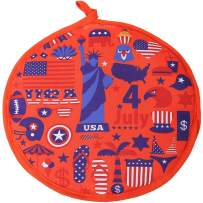 DOKKIA Tortilla Warmer 12 Inch Insulated Cloth Pouch - Microwavable Use Fabric Bag to Keep Food Warm for up to One Hour (12 Inch, American Flag Patriotic Eagle Statue Of Liberty)