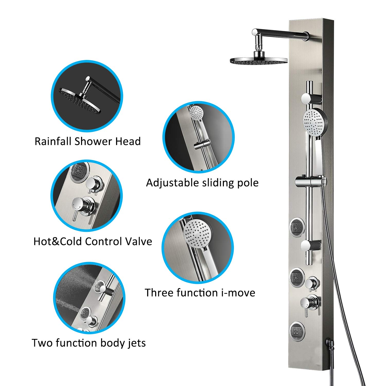 Vantory Shower Panel System Real 304 Stainless Steel Wall Mount Rainfall Multi Functional Massages Spray Jets With 3 Function Hand Shower Adjustable Sliding Pole