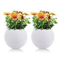 T4U 7 Inch Plastic Self Watering Planter Pots - White, Set of 2, Spherical Plant Pot Long-Term Water Storage Flower Pot Stylish Decorative Garden Pot for House Plants, Herbs, African Violets