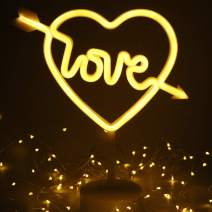 XIYUNTE Cupid Bow Neon Light LED Heart Neon Sign with Detachable Holder Base, USB or Battery Operation White Love Light Sign Room Decor Light up Kids Room,Bar,Party,Wedding,Christmas