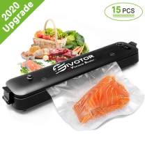 Food Vacuum Sealer Machine, EIVOTOR Sous Vide Vacuum Sealer Machine Automatic Multifunction Vacuum Sealing System for Food Savers, Dry & Moist Sealing Mode, Led Lights, with 15pcs Vacuum Sealer Bags