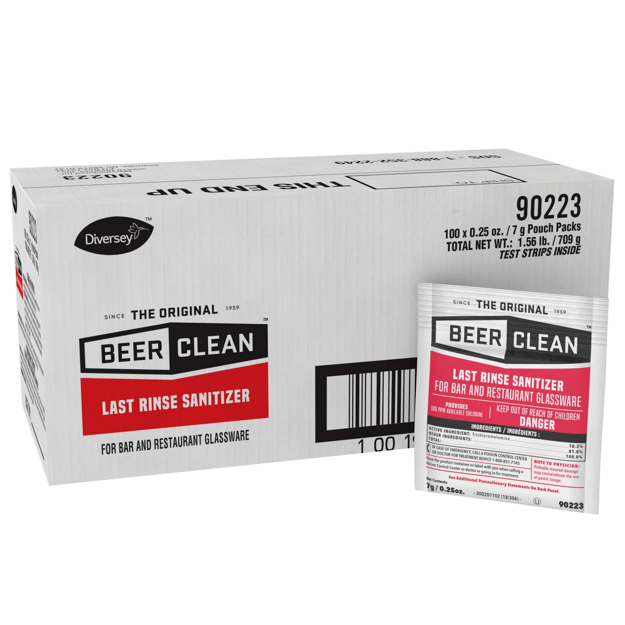 Diversey Beer Clean Last Rinse Glass Sanitizer, .25oz Powder Packet (100 Pack)