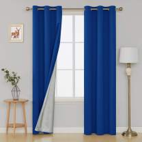 Deconovo Decorative Blackout Curtains with Silver Backing Room Darkening Noise Reducing Drapes for Boys Bedroom 42W x 84L Inch Royal Blue 2 Panels
