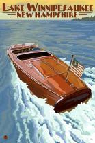 Lake Winnipesaukee, New Hampshire, Chris Craft Boat 46234 (12x18 SIGNED Print Master Art Print, Wall Decor Poster)