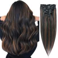 Hair Extensions Clip in Human Hair Balayage Ombre Clip on Real Remy Hair Extensions Natural Black with Chestnut Brown Highlights 100% Brazilian Virgin Hair for Women 120g 7pcs 17 Clips 16 Inch