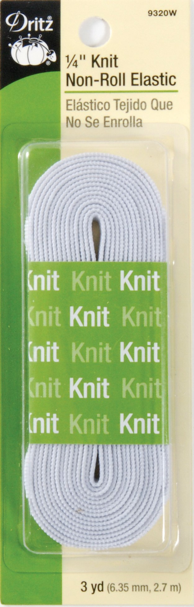 Dritz 9320W Non-Roll Knit Elastic, White, 1/4-Inch by 3-Yard
