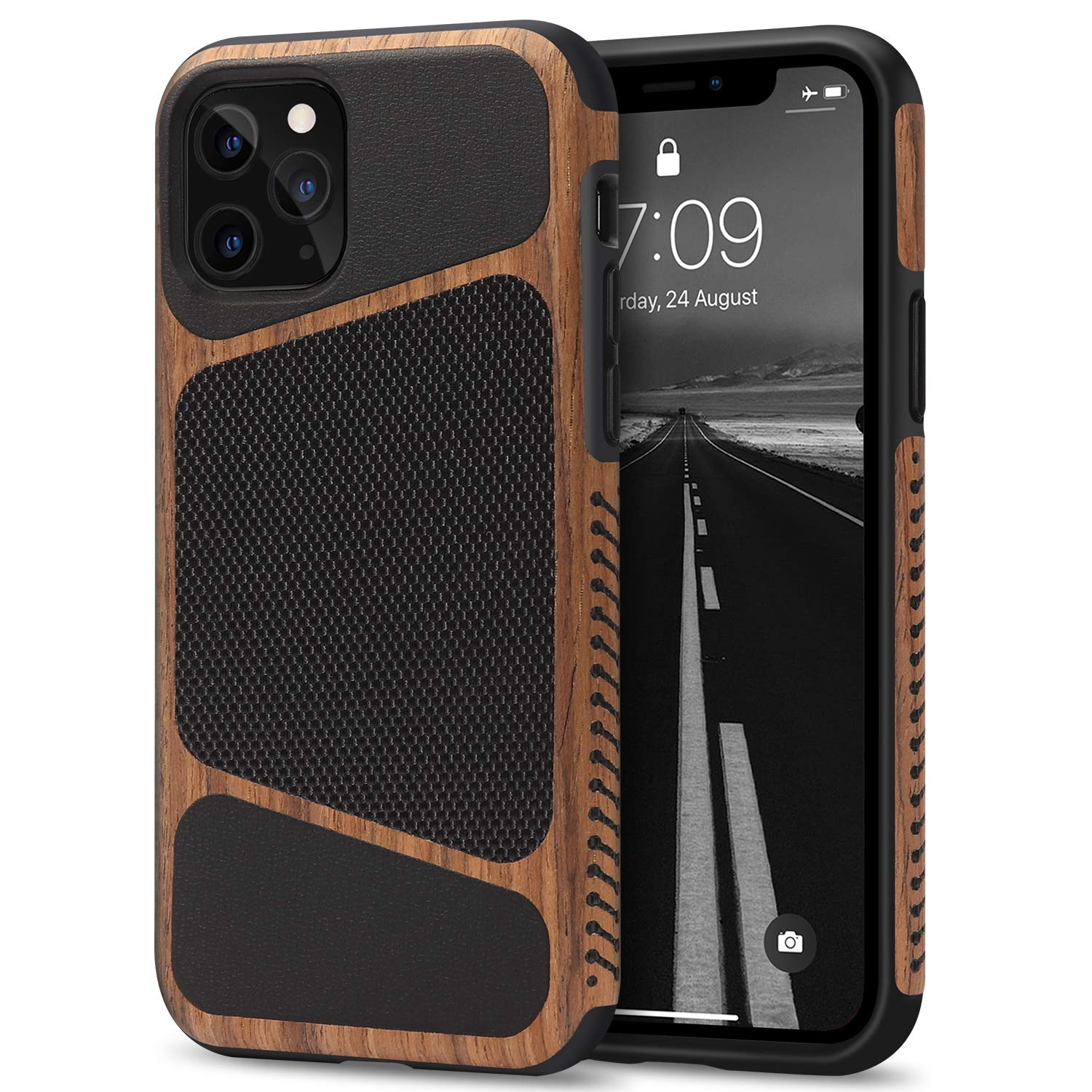 Tasikar Compatible with iPhone 11 Pro Max Case Easy Grip Wood Grain with Nylon Fabric Leather Design Compatible with iPhone 11 Pro Max