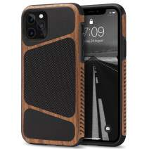 Tasikar Compatible with iPhone 11 Pro Case Easy Grip Wood Grain with Nylon Fabric Leather Design Compatible with iPhone 11 Pro