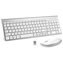 Wireless Keyboard and Mouse, FENIFOX USB Full Size Quiet Compact Compatible with iMac Mac PC Laptop Tablet Computer Windows (Silver White)