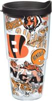 Tervis NFL Cincinnati Bengals All Over Tumbler with Wrap and Black Lid 24oz, Clear