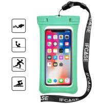 Universal Waterproof Case, IFCASE Floating Airbag TPU Phone Dry Bag Pouch for iPhone 11 Pro Max, Xs Max, Motorola Moto G6 G7 G7 Power, E5 Play, E5 Plus, Oneplus 7T, 7 Pro (Green) 2 Pack