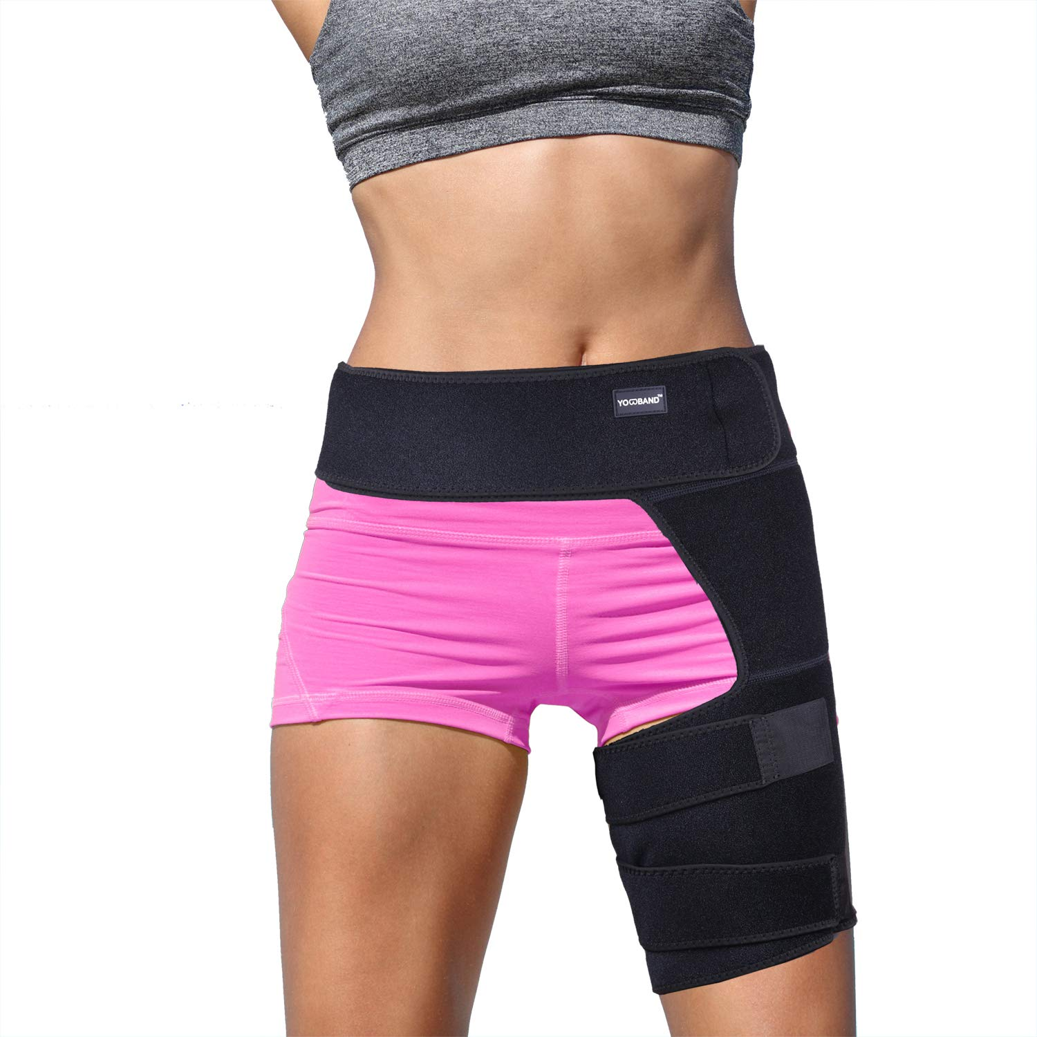 YOWBAND Hip & Groin Compression Brace,Support for Thigh,Nerve Pain Relief, Hamstring Recovery, Sciatica Wrap for Flexor Strains,Arthritis,Quadriceps,Joints,Pulled Muscles