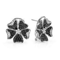 Dazzlingrock Collection 1.25 Carat (ctw) 14k Black & White Round Diamond Ladies Flower Stud Earrings 1 1/4 CT, White Gold