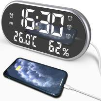 edola Bedside Clock Digital Alarm Clock, Dual USB Ports for Smartphones & Tablets with Time/Temperature/humidty,3 Adjustable Brightness Dimmer and Setting, Alarm Clock for Bedroom,Office, Kitchen