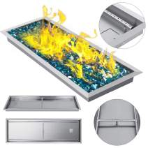 VEVOR 49x16 Inch Fire Pit Pan, Stainless Steel Rectangular Fire Pit Pan with H-Burner, Drop-in Fire Pit Pan 185K BTU Only for Propane Gas