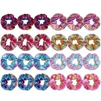 Canitor 24 Pack Shiny Metallic Scrunchies Bow Scrunchies Rainbow Scrunchies Bow Scrunchies for Hair Scrunchies with Bow Hair Scrunchies for Women