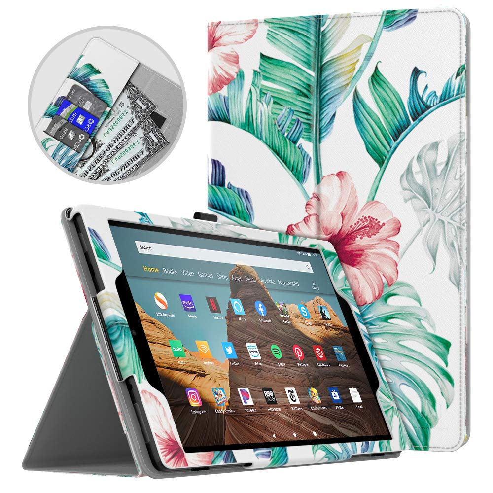 Dadanism All-New Amazon Fire HD 10 Tablet Case (9th Generation - 2019 Release) / (7th Generation - 2017 Release), Folio Cover Slim Stand with Card Slot for 10.1 Inch Cover - Pink Banana Leaf