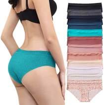Amorfati Bikini Panties for Women Seamless Underwear Hipster High Cut Panty 12-Pack