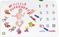 """Spunky Sprouts Premium Soft Organic Cotton Milestone Baby Newborn Growth Blanket-Large 40""""x 60"""" Size. Weeks & Months-Great Gift for Expecting Moms Photography Prop for Boys or Girls (Superhero)"""
