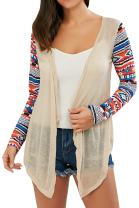 Sherrylily Womens Summer Cardigans Graphic Printed Sleeve Open Front High Low Hem Sweater Tops