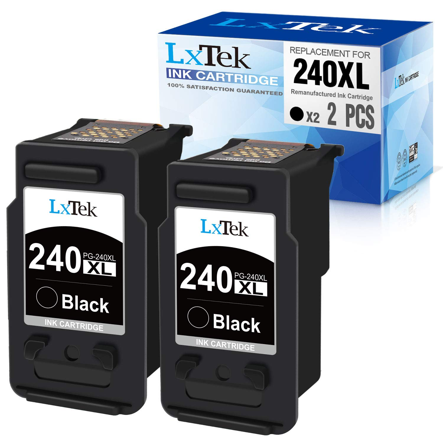 LxTek Remanufactured Ink Cartridge Replacement for Canon 240XL PG-240XL PG240XL PG-240 PG240 240XL 240 XL to use with PIXMA MG3620 TS5120 MX472 MG3220 MG2120 MX512 MX532 MG3520 MG3222 (Black, 2 Pack)