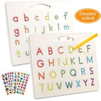 Toyssa Magnetic Drawing Board Double-Sided Doodle Tracing Board ABC Letters Writing Board STEM Educational Learning Toy Travel Toys with Pen for Kids Toddlers (Uppercase Letter and Lower Case Letters)